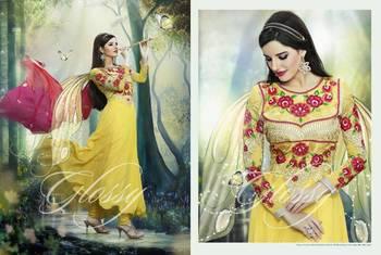 Designer Glossy Umbrella Anarkali Dress Yellow and Pink
