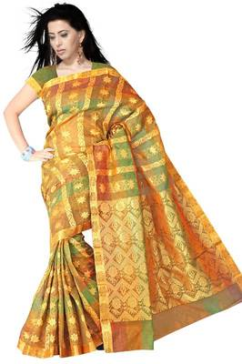 Traditional Floral Print Chettinad Silk PS430
