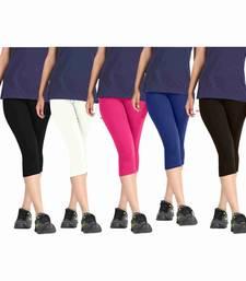Buy multicolor cotton lycra fabric women capris capris-3-4-pant online