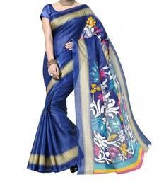 Buy blue printed bhagalpuri silk saree With Blouse below-400 online
