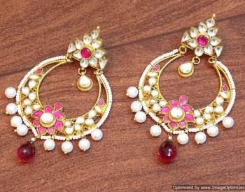 Celebrity royal collection kundan pearl chand bali earring