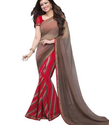 Buy Maroon  printed georgette saree With Blouse Saree online
