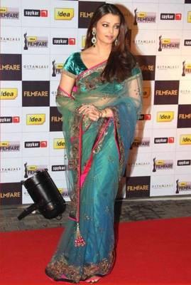 Aishwarya Rai Net Sequins Work Green Bollywood Style saree
