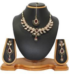 Buy Maroon studded_jewellery Diamond necklace-sets necklace-set online