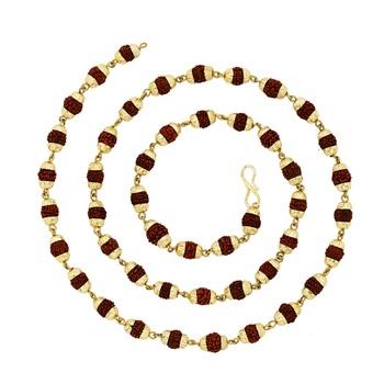 BeBold Gold Brass Gold Plated Link Rudraksha Mala Chain for Boys and Men