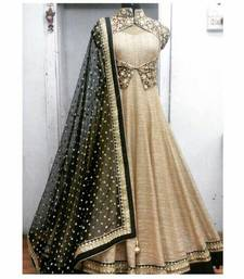 Buy Cream georgette embroidered party wear gowns party-wear-gown online