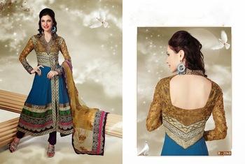 Graceful Sky Blue Georgette Anarkali Suit With Lace Work