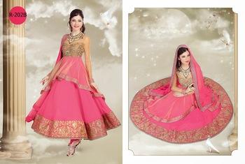 Unique Magenta Pink Net Embroidered Anarkali Suits