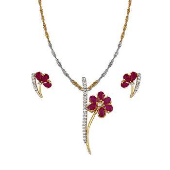 Heena Floral design AD pendent set