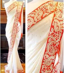 Buy georgette saree by Ravechi Fab (white) party-wear-saree online