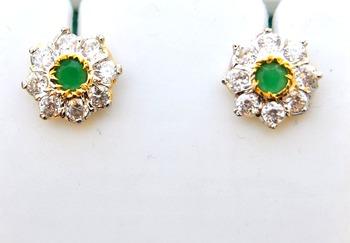 Emerald Floral Stud Earrings