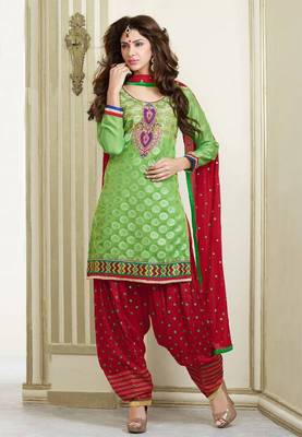 Green and Red cotton chanderi patiyala patiala salwar kameez unstitched designer suit party wear indian