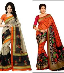 Buy Printed Multicolor Bhagalpuri Silk Fashion Ethnic Wear 2 designer sarees combo. sarees-combo-sari online