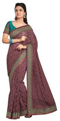 Triveni Fine-looking Brown Evening Wear Border Work Net Brasso Indian Saree