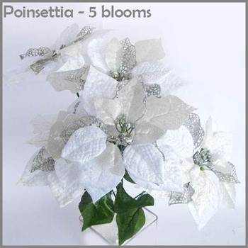 Poinsettia Bunch White - 5 flowers bunch