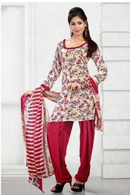Dealtz Fashion Casual Printed Cream Dress Material