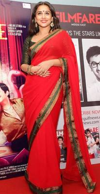 Vidya Balan Georgette Sequins work Bollywood Style Saree