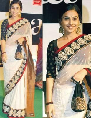 Vidya Balan Net Sequins work Bollywood Style Saree