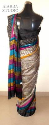 Madhubani print on Ghicha Silk from Bhagalpur