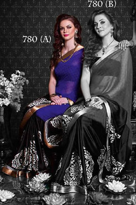 Party Wear Purple and Black Saree