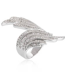 Buy Flame Pattern Silver Plated Cz Designer Ring for Women Ring online