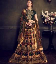 Buy Green and beige printed silk unstitched bridal lehengas bridal-lehenga online