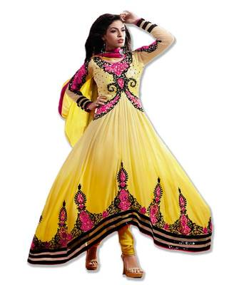 AARYA SUPER FINE GEORGETTE SHADED YELLOW COLOR DESIGNER SEMI STITCHED SALWAR SUIT 7278