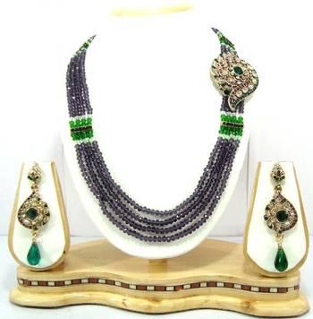 4 line amethyst green crystal bridal necklace set o31