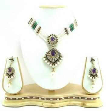 Purple grren cz pearl choker necklace setr3