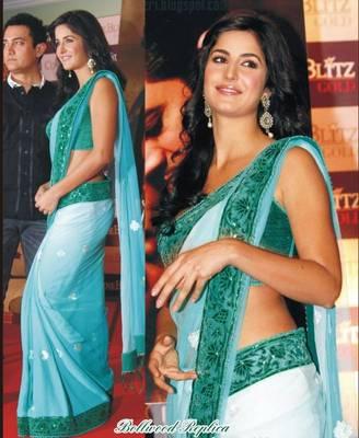 Katrina Kaif Net Seuins work Bollywood Style Saree