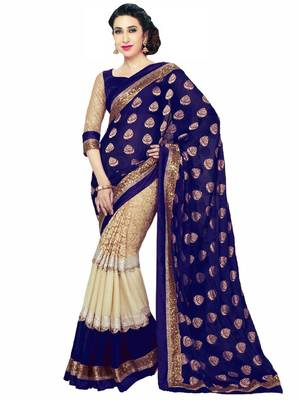 Neavy Blue printed georgette saree with blouse