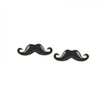 Black Mustache Studs