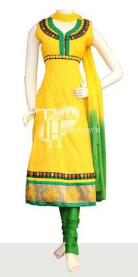 Yellowish cotton excellent embroidery work replica
