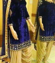 Buy Blue velvet embroidered semi stitched salwar with dupatta party-wear-salwar-kameez online