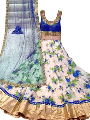 Blue art silk embroidered semi stitched salwar with dupatta
