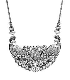 Buy Evergreen tribal peacock inspired silver oxidised neck-piece with adjustable chain fashion-deal online