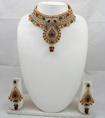 Designer Necklace Set with Ruby ,Pearl and Emerald