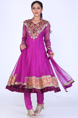 Purple Net Embroidered Party and Festival Anarkali Salwar Kameez