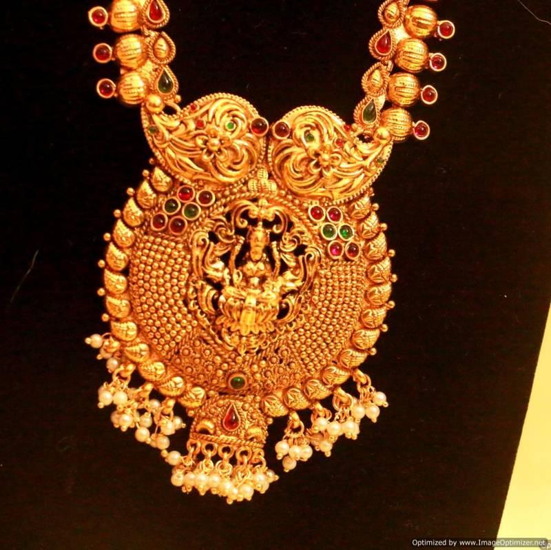 Buy Multicolour Temple Jewellery Long Necklace Set Online