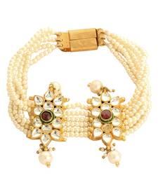 Buy Beaded White Pearls Kundan Ethnic Indian Bracelet For Women bangles-and-bracelet online