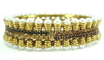 Bollywood style multicolor cz pearl  1pc bangle bracelet me19