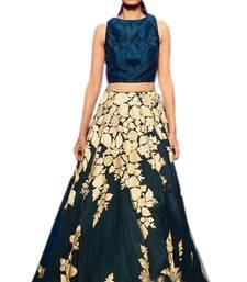 Buy Blue banglory silk embroiderey unstitched lehenga choli navratri-lehenga-chaniya-choli online