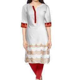 Buy White plain faux crepe stitched kurti long-kurti online