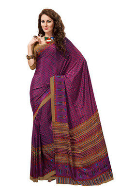 Fabdeal Purple Colored Crepe Printed Saree
