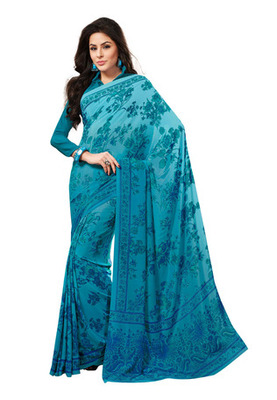 Fabdeal Light Blue Colored Crepe Printed Saree