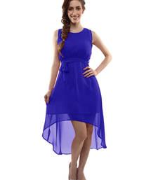 Buy Blue plain georgette semi stitched kurti party-wear-kurti online