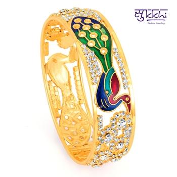 Diwali Dicount Offers Sukkhi Meenakari gold plated Peacock AD Kada