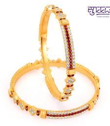 Buy Sukkhi Gold Plated Color Stone Bangels Diwali gifts bangles-and-bracelet online