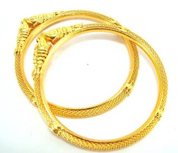 elephant style gold plated 2pc bangle me252