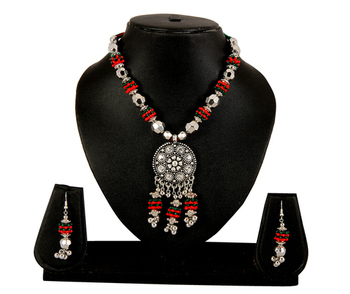 Multi-Colour Necklace Earrings Set For Women and Girls